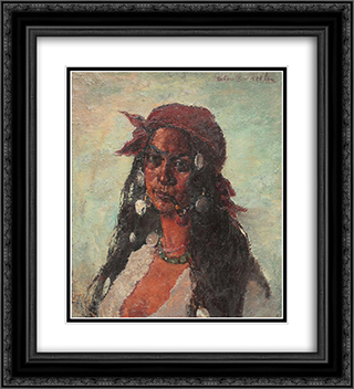 Gypsy Woman with Necklace and Pipe 20x22 Black or Gold Ornate Framed and Double Matted Art Print by Octav Bancila