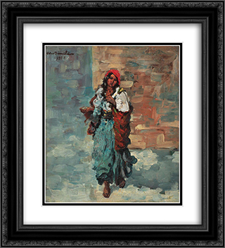 Gypsy Woman with Red Headscarf 20x22 Black or Gold Ornate Framed and Double Matted Art Print by Octav Bancila