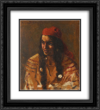 Gypsy Woman with Red Scarf 20x22 Black or Gold Ornate Framed and Double Matted Art Print by Octav Bancila