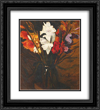 Imperial Gladiolus 20x22 Black or Gold Ornate Framed and Double Matted Art Print by Octav Bancila
