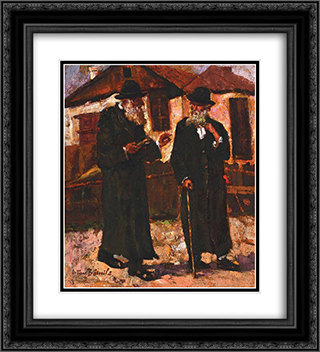 Jewish People Talking in Targu Cucu 20x22 Black or Gold Ornate Framed and Double Matted Art Print by Octav Bancila