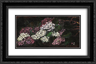 Lilac Boughs 24x16 Black or Gold Ornate Framed and Double Matted Art Print by Octav Bancila