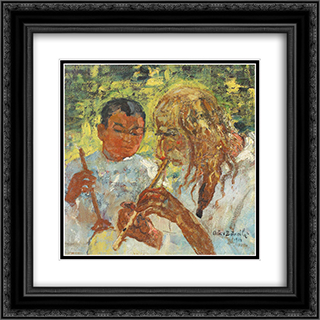 Music Lesson 20x20 Black or Gold Ornate Framed and Double Matted Art Print by Octav Bancila