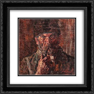 Peasant with Pipe 20x20 Black or Gold Ornate Framed and Double Matted Art Print by Octav Bancila