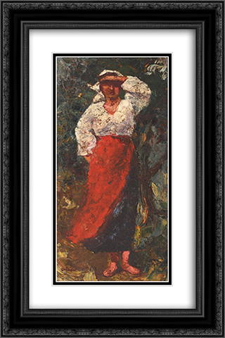 Peasant Woman 16x24 Black or Gold Ornate Framed and Double Matted Art Print by Octav Bancila