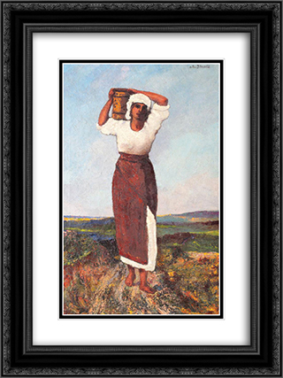 Peasant Woman with a Jar 18x24 Black or Gold Ornate Framed and Double Matted Art Print by Octav Bancila