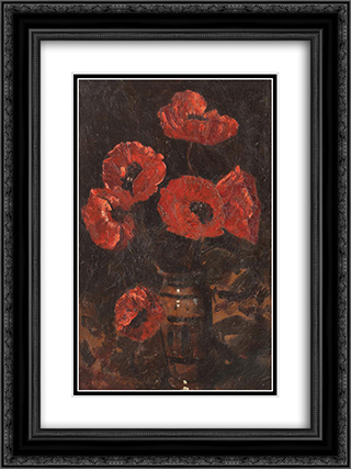 Poppies 18x24 Black or Gold Ornate Framed and Double Matted Art Print by Octav Bancila