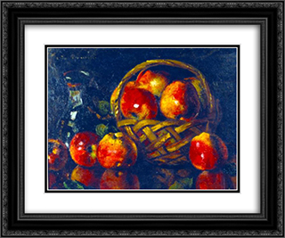 Still Life with Apples 24x20 Black or Gold Ornate Framed and Double Matted Art Print by Octav Bancila