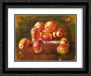 Still Life with Fruits 24x20 Black or Gold Ornate Framed and Double Matted Art Print by Octav Bancila