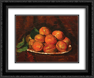 Still Life with Peaches 24x20 Black or Gold Ornate Framed and Double Matted Art Print by Octav Bancila