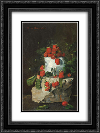 Strawberries 18x24 Black or Gold Ornate Framed and Double Matted Art Print by Octav Bancila