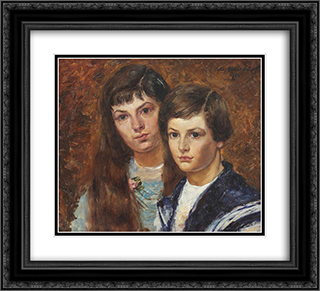 The Children of the Painter 22x20 Black or Gold Ornate Framed and Double Matted Art Print by Octav Bancila