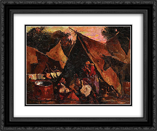 The Gipsy Tent 24x20 Black or Gold Ornate Framed and Double Matted Art Print by Octav Bancila