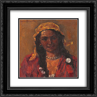 The Yellow Headscarf 20x20 Black or Gold Ornate Framed and Double Matted Art Print by Octav Bancila