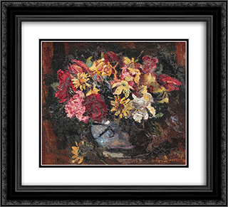 Vase with Field Flowers 22x20 Black or Gold Ornate Framed and Double Matted Art Print by Octav Bancila