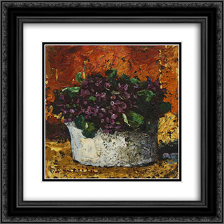 Vase with Violets 20x20 Black or Gold Ornate Framed and Double Matted Art Print by Octav Bancila