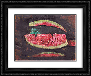 Watermelon 24x20 Black or Gold Ornate Framed and Double Matted Art Print by Octav Bancila