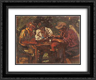 Wine Drinkers 24x20 Black or Gold Ornate Framed and Double Matted Art Print by Octav Bancila