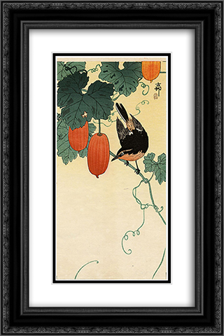 A flycatcher on cucumber bush 16x24 Black or Gold Ornate Framed and Double Matted Art Print by Ohara Koson