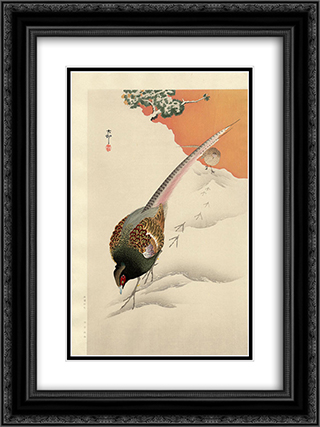 A Pair of Pheasants in the Snow 18x24 Black or Gold Ornate Framed and Double Matted Art Print by Ohara Koson