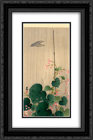 Bird and Begonias 16x24 Black or Gold Ornate Framed and Double Matted Art Print by Ohara Koson