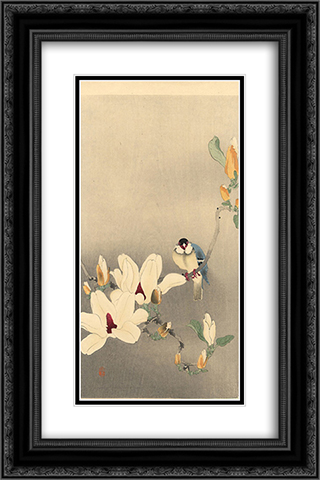 Blue Bird and Magnolia 16x24 Black or Gold Ornate Framed and Double Matted Art Print by Ohara Koson