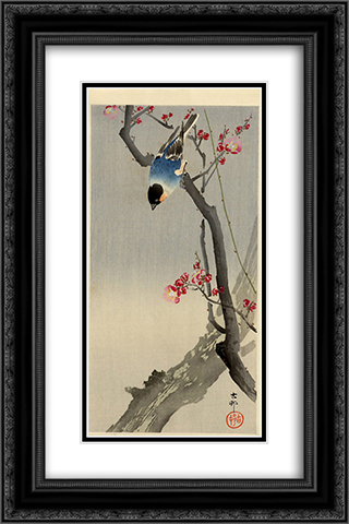 Bullfinch on Flowering Plum 16x24 Black or Gold Ornate Framed and Double Matted Art Print by Ohara Koson