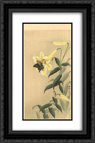Butterfly and lily 16x24 Black or Gold Ornate Framed and Double Matted Art Print by Ohara Koson