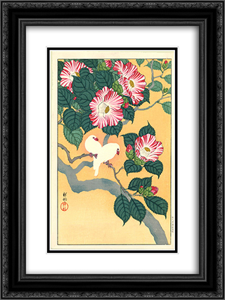 Camellia and Rice Birds 18x24 Black or Gold Ornate Framed and Double Matted Art Print by Ohara Koson