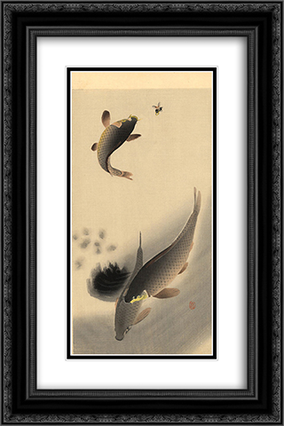 Carp and Bee 16x24 Black or Gold Ornate Framed and Double Matted Art Print by Ohara Koson