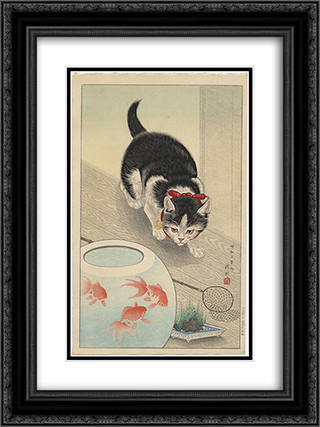 Cat and Bowl of Goldfish 18x24 Black or Gold Ornate Framed and Double Matted Art Print by Ohara Koson