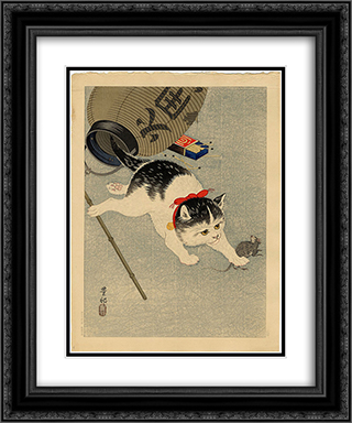 Cat Catching a Mouse 20x24 Black or Gold Ornate Framed and Double Matted Art Print by Ohara Koson