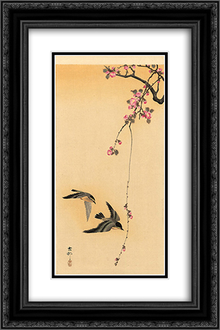Cherry blossom with birds 16x24 Black or Gold Ornate Framed and Double Matted Art Print by Ohara Koson