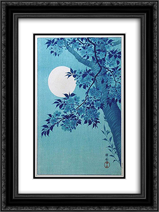 Cherry on a Moonlit Night 18x24 Black or Gold Ornate Framed and Double Matted Art Print by Ohara Koson