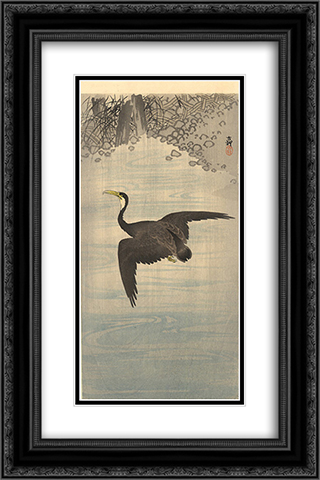 Cormorant 16x24 Black or Gold Ornate Framed and Double Matted Art Print by Ohara Koson