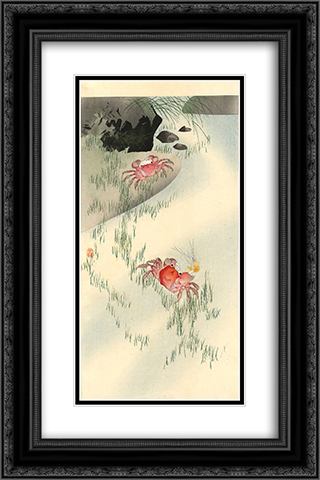 Crabs 16x24 Black or Gold Ornate Framed and Double Matted Art Print by Ohara Koson