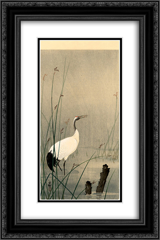 Crane in small water 16x24 Black or Gold Ornate Framed and Double Matted Art Print by Ohara Koson