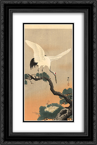 Crane over his nest 16x24 Black or Gold Ornate Framed and Double Matted Art Print by Ohara Koson
