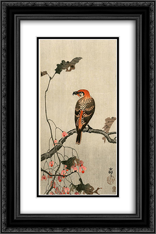 Crossbill 16x24 Black or Gold Ornate Framed and Double Matted Art Print by Ohara Koson