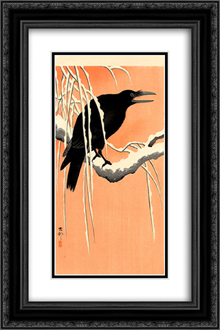 Crow 16x24 Black or Gold Ornate Framed and Double Matted Art Print by Ohara Koson