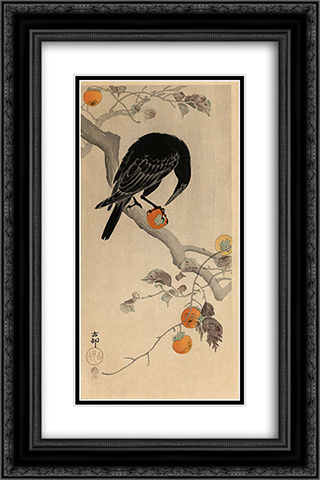 Crow eating a Persimmon 16x24 Black or Gold Ornate Framed and Double Matted Art Print by Ohara Koson