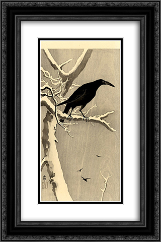 Crow on a Snowy Branch 16x24 Black or Gold Ornate Framed and Double Matted Art Print by Ohara Koson