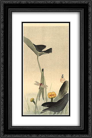 Dragonfly and Lotus 16x24 Black or Gold Ornate Framed and Double Matted Art Print by Ohara Koson