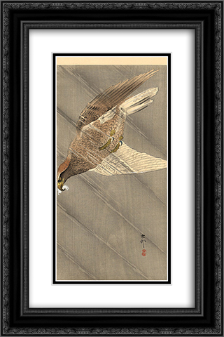 Eagle in descent 16x24 Black or Gold Ornate Framed and Double Matted Art Print by Ohara Koson