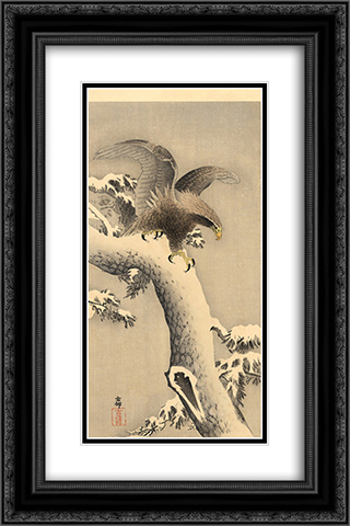 Eagle under snow 16x24 Black or Gold Ornate Framed and Double Matted Art Print by Ohara Koson