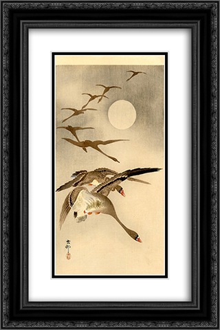 Eight White-fronted Geese in Flight; full Moon behind 16x24 Black or Gold Ornate Framed and Double Matted Art Print by Ohara Koson