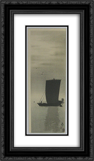 Fishing Boats at Sea 14x24 Black or Gold Ornate Framed and Double Matted Art Print by Ohara Koson