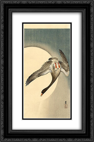Flying white-fronted goose seen from underneath in front of the moon 16x24 Black or Gold Ornate Framed and Double Matted Art Print by Ohara Koson