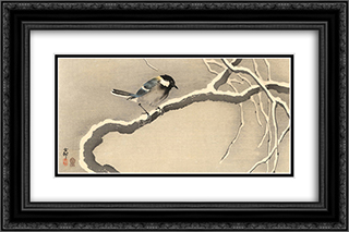 Giant Tit on Snowy Branch 24x16 Black or Gold Ornate Framed and Double Matted Art Print by Ohara Koson