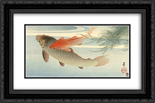 Golden Carp 24x16 Black or Gold Ornate Framed and Double Matted Art Print by Ohara Koson